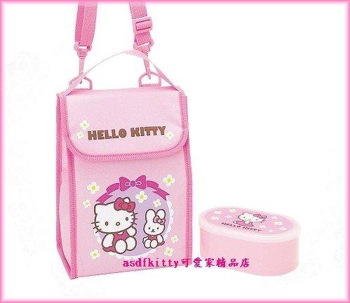 廚房【asdfkitty】kitty便當袋+便當盒-小兔-保鮮盒-保冷保溫手提.斜背.肩背包