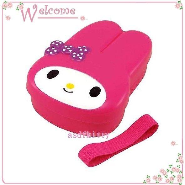 asdfkitty可愛家☆美樂蒂桃粉色造型便當盒-保鮮盒-水果盒-點心盒-附綁帶~可微波-日本正版