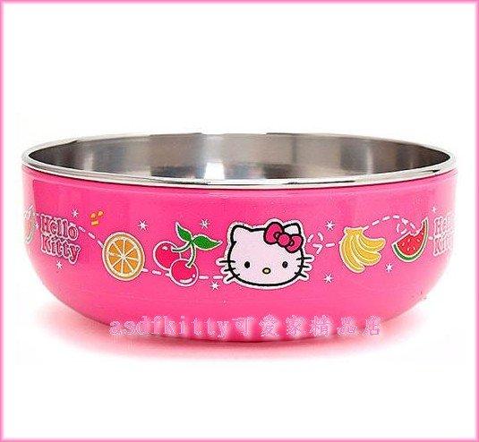 廚房【asdfkitty可愛家】KITTY防燙不鏽鋼碗L號/學習碗-水果版-無毒環保-韓國製