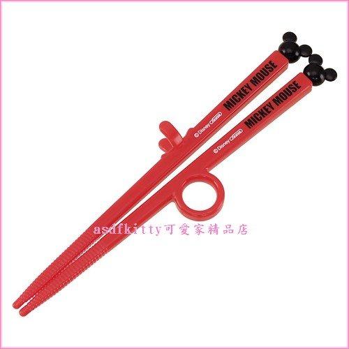 asdfkitty可愛家☆米奇兒童學習筷-第一階段右手用-有止滑圈歐-日本正版全新