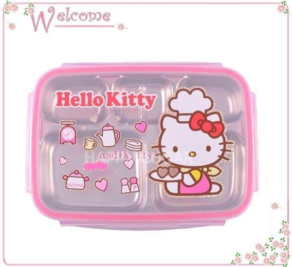 asdfkitty可愛家☆KITTY樂扣型防燙有蓋304不鏽鋼餐盤便當盒-小廚師版-韓國製正版商品
