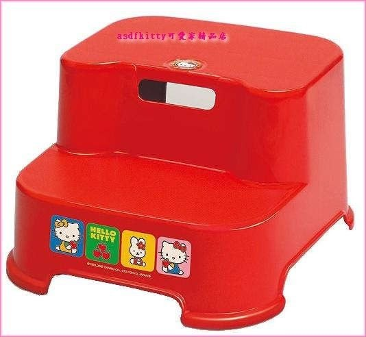 asdfkitty可愛家☆KITTY階梯椅/防滑小椅子/墊高椅/墊腳椅客廳.廁所都好用-日本製