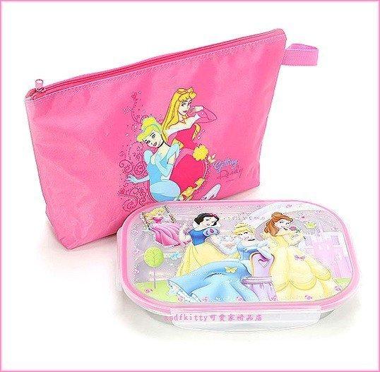 asdfkitty可愛家☆迪士尼公主樂扣型有蓋304不鏽鋼餐盤便當盒-盪鞦韆版-附外出袋-韓國製