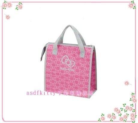 廚房【asdfkitty】KITTY桃粉蝴蝶結版輕量保溫便當袋/手提袋/購物袋-也可保冷-日本正版