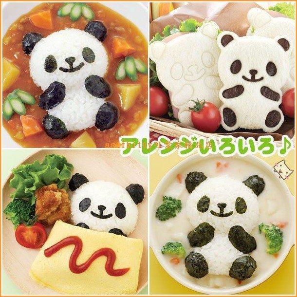 asdfkitty可愛家☆日本Arnest熊貓飯糰模型含海苔切模板.表情起司壓模-可做餅乾.壓吐司-保證正版商品