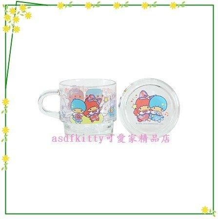 asdfkitty可愛家☆雙子星音符透明玻璃有蓋馬克杯-香港版正版商品