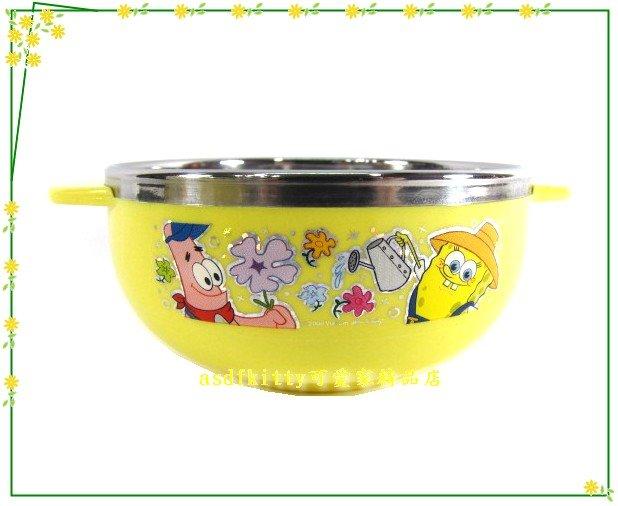 asdfkitty可愛家☆海綿寶寶園丁雙耳防燙304不鏽鋼碗-M號-學習碗-韓國製