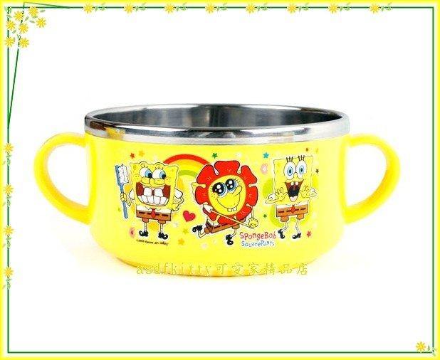 廚房【asdfkitty】海綿寶寶向日葵有把手防燙304不鏽鋼碗-防燙設計- 韓國製