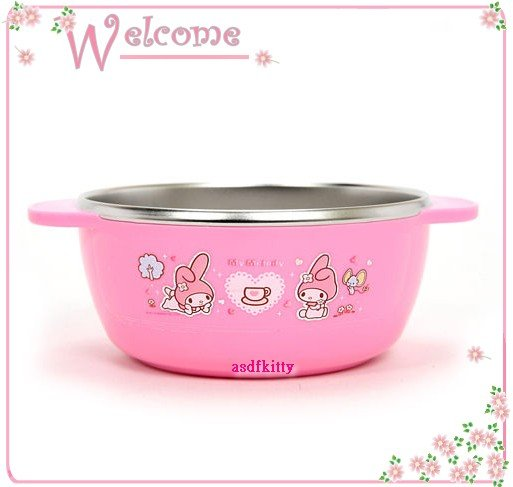 asdfkitty可愛家☆美樂蒂下午茶雙耳防燙304不鏽鋼碗-M號/學習碗-底部有防滑設計-韓國製