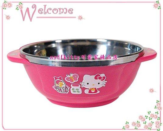 廚房【asdfkitty】KITTY花園防燙不鏽鋼雙耳飯碗M號-可當學習碗-韓國製