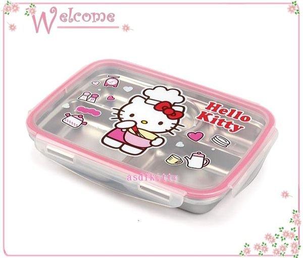 asdfkitty可愛家☆KITTY樂扣型有蓋304不鏽鋼餐盤便當盒-小廚師打蛋版-韓國製