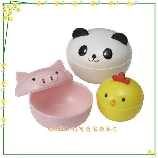 廚房【asdfkitty】日本MSA小豬.熊貓.小雞有蓋便當菜隔盒/醬料盒/水果盒-可做果凍.布丁-正版