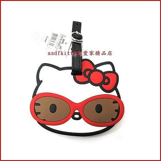 個人用品【asdfkitty】KITTY戴墨鏡超大型姓名吊牌/ 行李吊牌/書包-很大很明顯-歐美正版