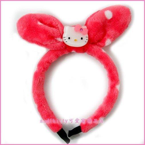 asdfkitty可愛家☆KITTY紅色點點絨毛兒童髮圈/髮箍-韓國正版商品