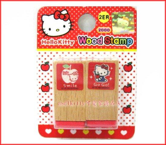 印章【asdfkitty可愛家】KITTY蘋果木製橡皮印章2入-韓國製