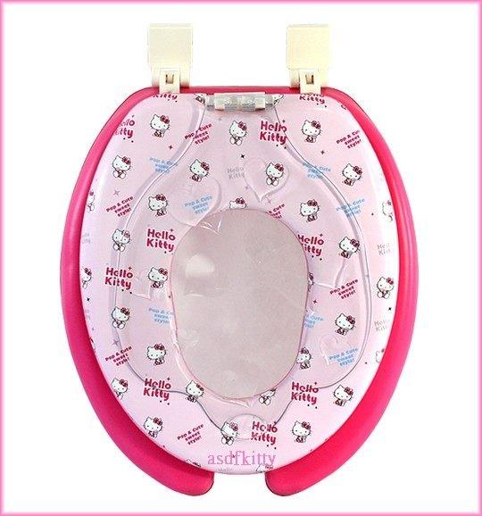 衛浴【asdfkitty可愛家】KITTY透明蓋U型馬桶蓋/馬桶座/兒童輔助坐墊-大人兒童2用型=母子型-韓國製