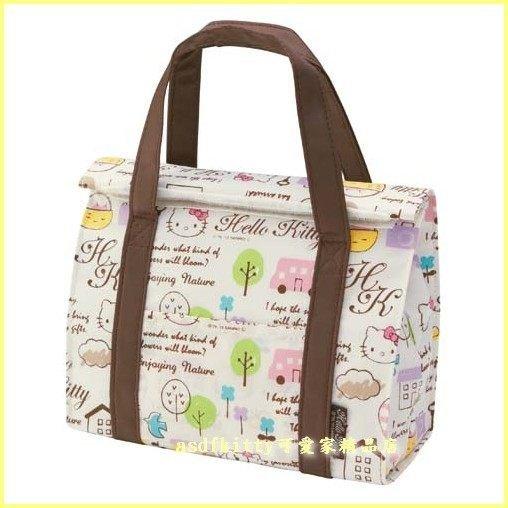 asdfkitty可愛家☆KITTY反折式法國風版輕量保溫便當袋/手提袋/購物袋-也可保冷-日本正版