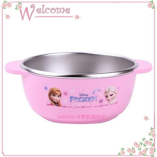 asdfkitty可愛家☆迪士尼 冰雪奇緣雙耳防燙304不鏽鋼碗-M號-底部防滑-兒童學習碗-韓國製