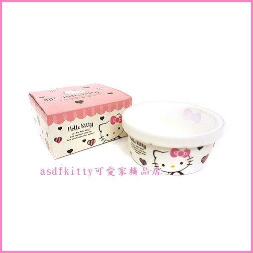 廚房用品【asdfkitty】KITTY愛心版陶瓷有蓋保鮮盒-日本正版商品