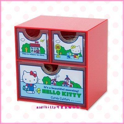 asdfkitty可愛家☆KITTY紅色桌上型抽屜櫃/收納置物櫃-sanrio50週年紀念商品-日本正版全新