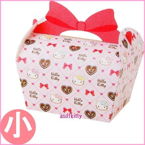 廚房【asdfkitty可愛家】KITTY粉菱格紋包裝手提盒小的-裝禮物.餅乾.巧克力.手工皂...日本製