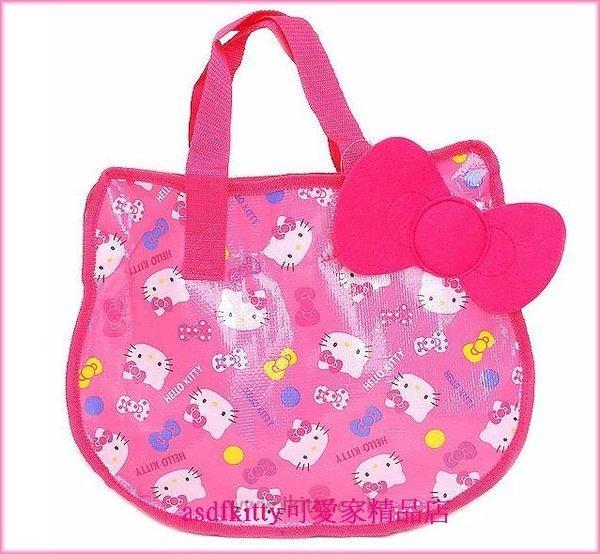 個人用品【asdfkitty】kitty粉紅大臉版L號/收納袋/輕量肩背包-幼兒園午睡棉被睡袋/韓國版