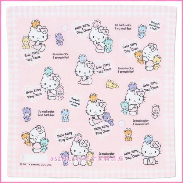 個人用品【asdfkitty可愛家】kitty泰迪熊棉質手帕-日本製