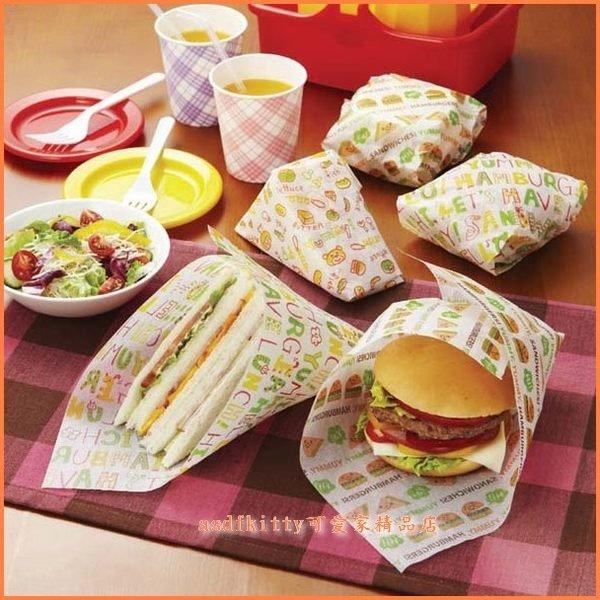 asdfkitty可愛家☆日本msa漢堡.三明治包裝紙-外出或是裝飾都好用-日本正版
