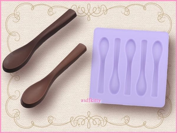 asdfkitty可愛家☆日本進口湯匙矽膠模型-做餅乾.果凍.手工皂.巧克力-川嶋正版商品
