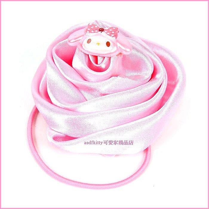 嬰童用品【asdfkitty可愛家】美樂蒂立體玫瑰花造型髮束-大又顯眼-日本正版商品