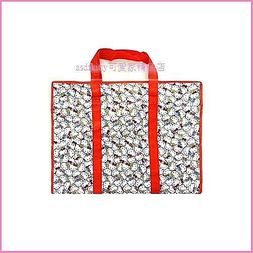 個人用品【asdfkitty】kitty多臉版購物袋LL號-紅色/收納袋/輕量肩背包-幼兒園午睡棉被睡袋/韓國版
