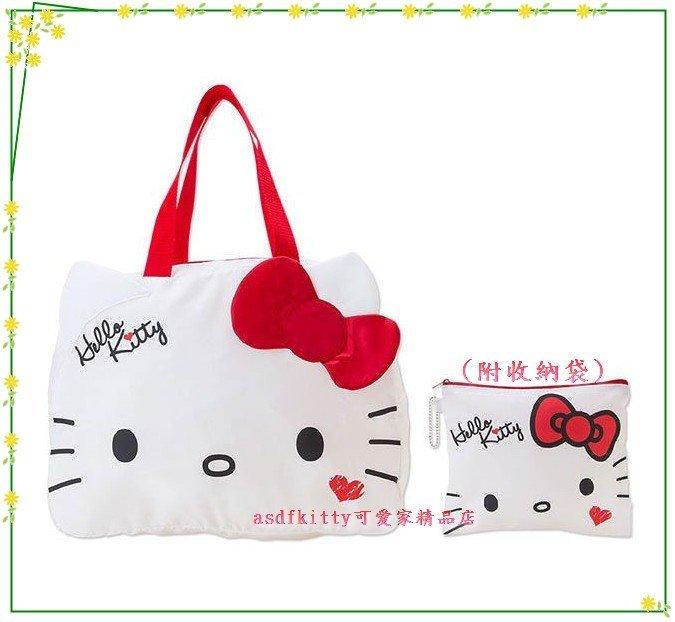 asdfkitty可愛家☆kitty大臉行李箱拉桿手提袋-可收納購物袋-超輕量-耐荷重15公斤-日本正版商品