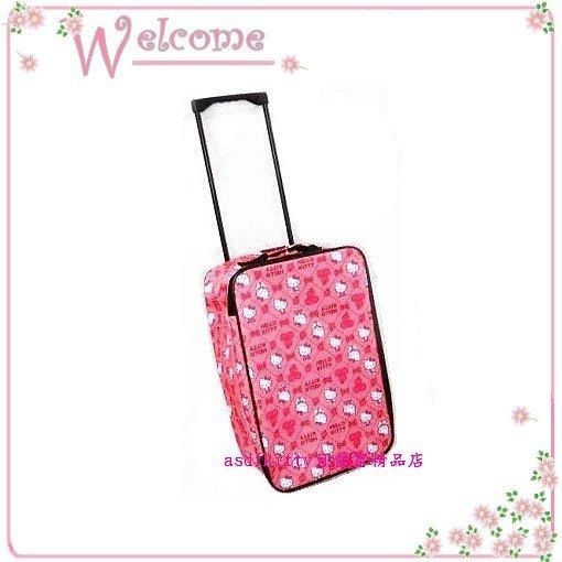 asdfkitty可愛家☆KITTY可壓扁收納行李箱/登機箱/拉桿購物箱/菜籃車-粉色-日本正版