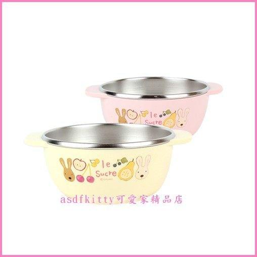 廚房【asdfkitty】法國兔防燙雙耳304不鏽鋼碗-學習碗-底部防滑-分售-韓國製