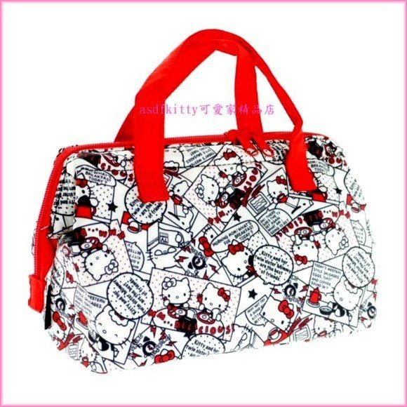 asdfkitty可愛家☆KITTY漫畫風寬口拉鍊輕量保溫便當袋/手提袋/購物袋-也可保冷-日本正版商品