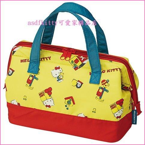 asdfkitty可愛家☆KITTY復古黃寬口拉鍊輕量保溫便當袋/手提袋/購物袋-也可保冷-日本正版商品