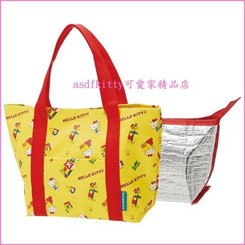 asdfkitty可愛家☆KITTY復古黃可拆洗輕量保溫便當袋/手提袋/購物袋-也可保冷-日本正版商品