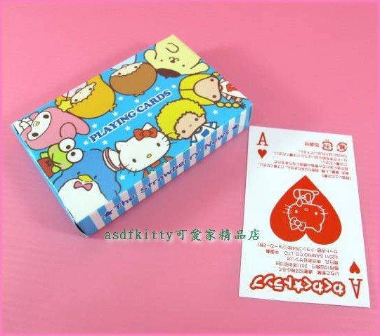 asdfkitty可愛家☆ KITTY 布丁狗 雙子星 美樂蒂 大眼蛙 Patty&Jimmy 撲克牌-日本正版商品