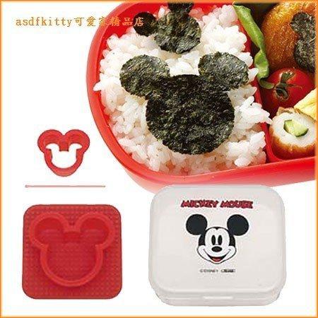 asdfkitty可愛家☆賠錢出清特價 米奇海苔切模+收納盒-可當餅乾壓模型-壓土司-日本正版商品