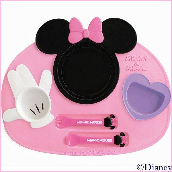 asdfkitty可愛家☆迪士尼 米妮兒童餐盤餐具組-含托盤 湯匙跟叉子-6件組-日本製