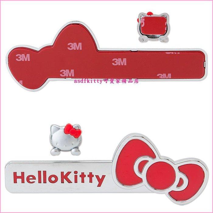 asdfkitty可愛家☆KITTY標誌貼-長條紅蝴蝶結版-機車-腳踏車-汽車-家中大門-冰箱都可用-日本正版