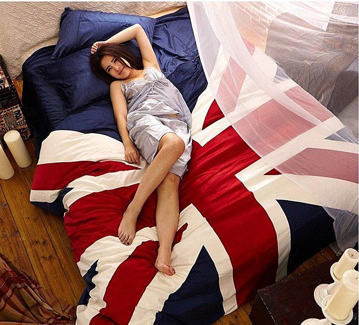 寰宇歐洲風 大不列顛日不落風格 英國國旗天鵝絨超保暖4件套(精選加大雙人床-床包款)