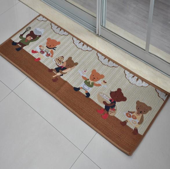 出口日本等級 45*240 CM 可愛小熊卡通地墊 吸水防滑地墊 廚房墊 門墊 玄關墊 地毯