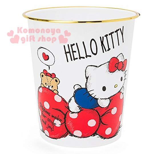 〔小禮堂〕Hello Kitty 圓形垃圾桶《白.趴蝴蝶結上.小熊》美觀居家