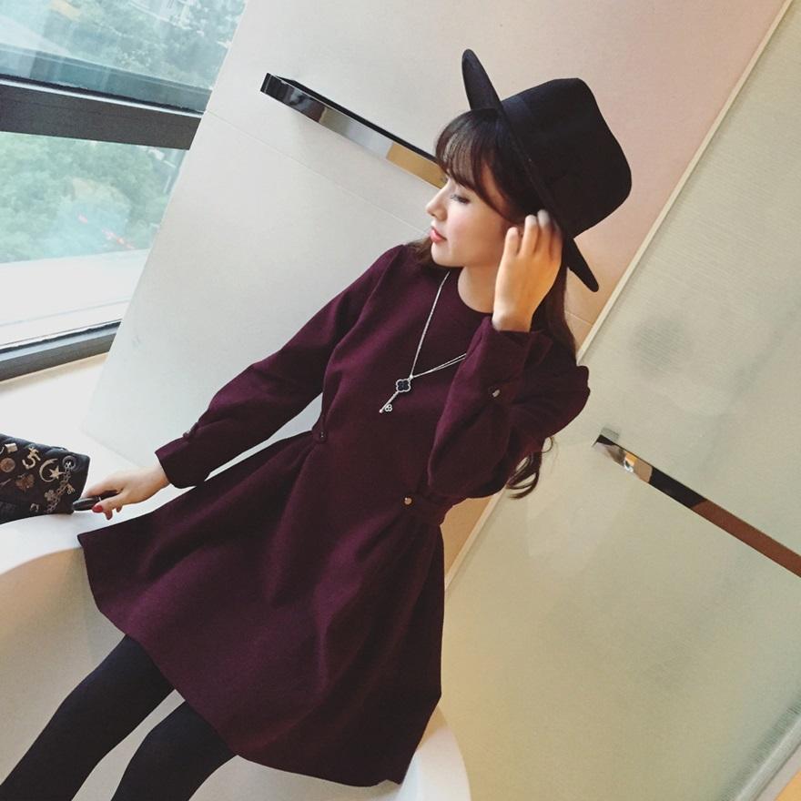 PS Mall 顯瘦羊絨毛呢料修身收腰圓領加厚長袖連身裙 洋裝【T4304】