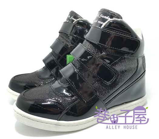 【巷子屋】女款小心機內增高運動休閒鞋 5cm [37040] 黑 MIT台灣製造 超值價$298