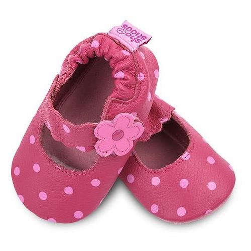 【HELLA 媽咪寶貝】英國 shooshoos 安全無毒真皮手工鞋/學步鞋/嬰兒鞋_桃紅小花點點(公司貨)