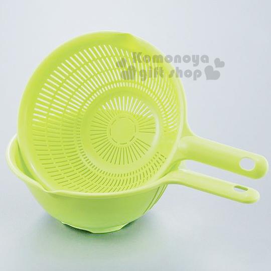 〔小禮堂〕日製握把瀝水籃《綠》洗米洗蔬果