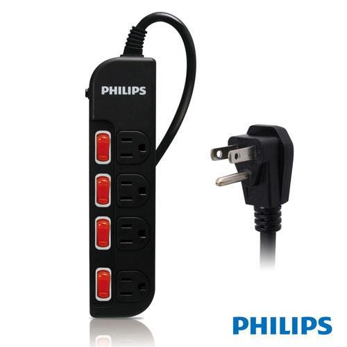 【迪特軍3C】PHILIPS SPB1641BA 四開四插延長線 四孔排插 1.8M 黑色
