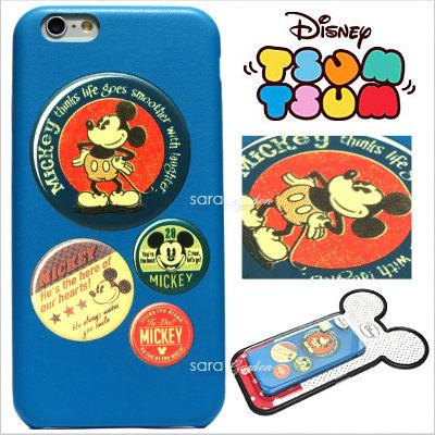 免運 官方授權 迪士尼 Tsum Tsum 疊疊樂 立體 皮革 Q版 iPhone 6 6S Plus 手機殼 保護套 皮套 米奇徽章【D0801069】